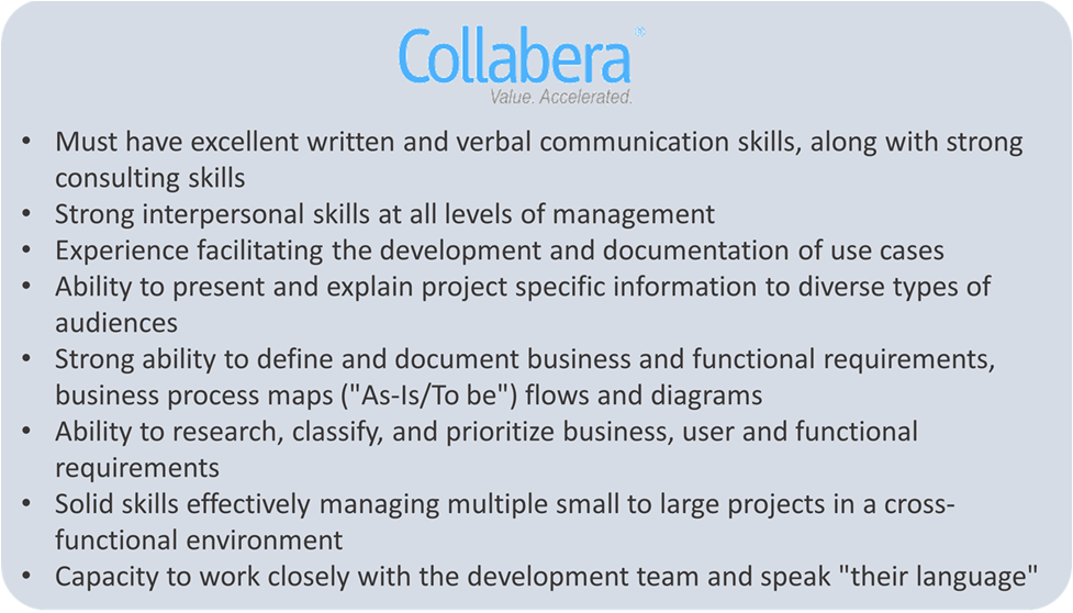 Collabera BA Resume - Business Analysis Resume - Invensis Learning