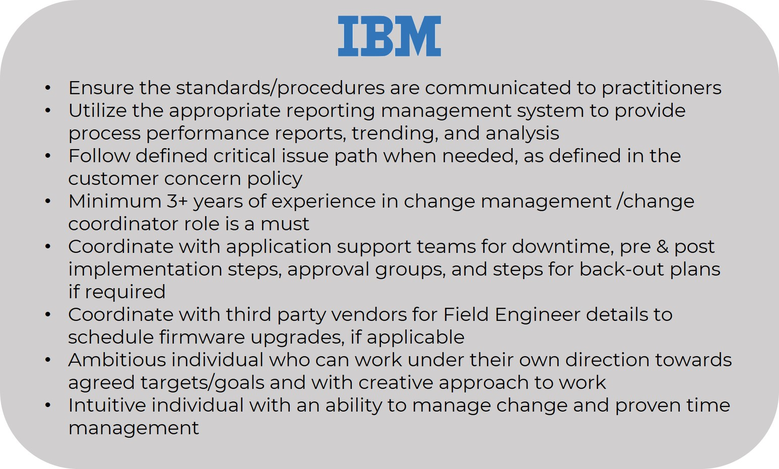 IBM Change Manager Resume - Change Manager Resume - Invensis Learning