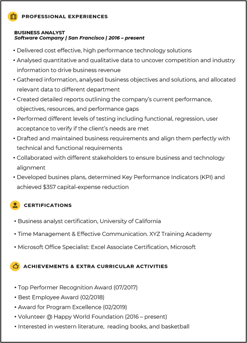 Sample Resume - Business Analysis Resume - Invensis Learning