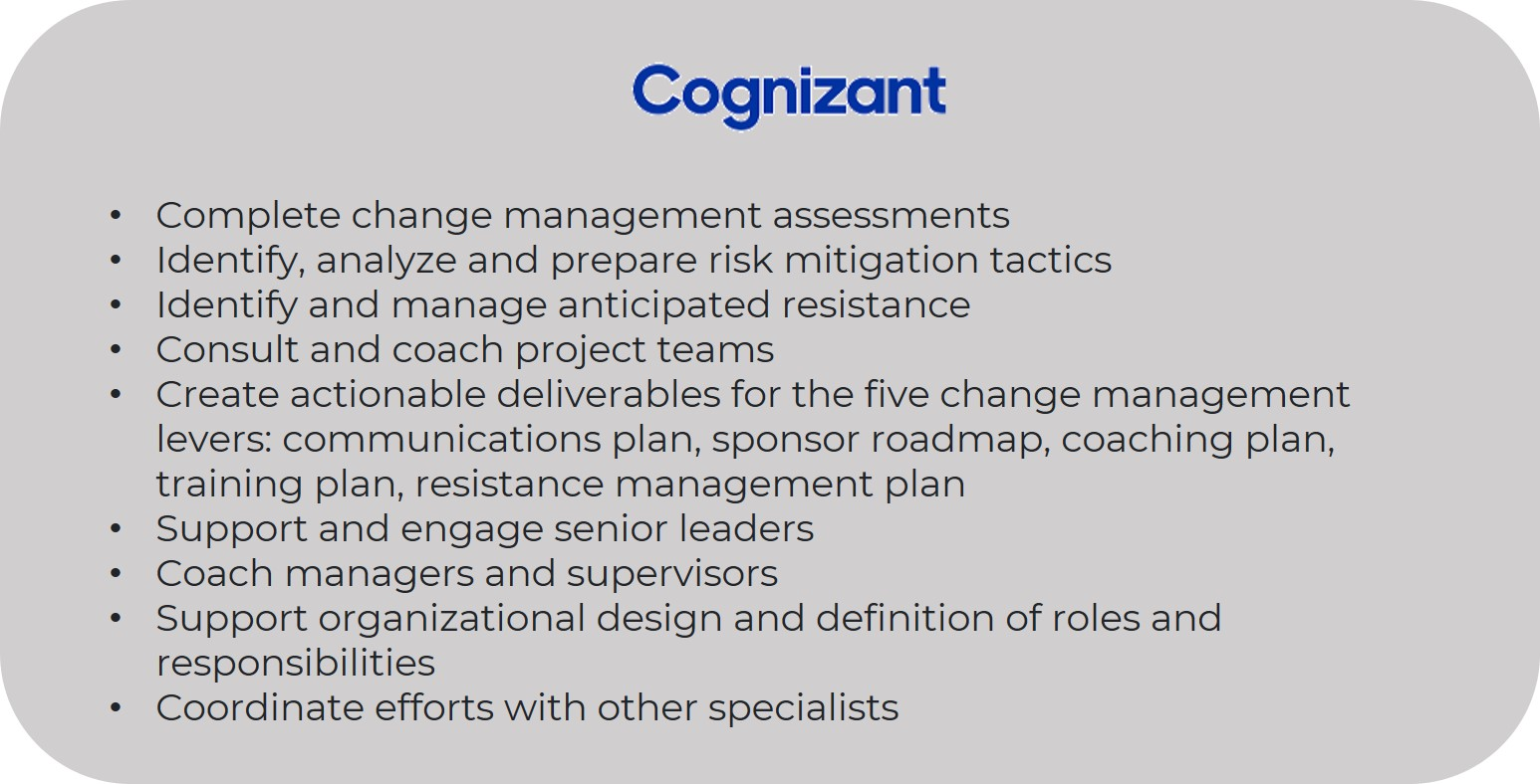 Cognizant Change Manager Resume - Change Manager Resume - Invensis Learning